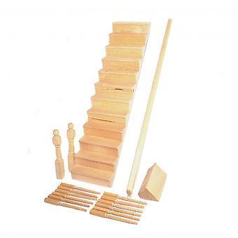 Dolls House portaikko kaareva bannister kit miniatyyri portaat diy rakentajat