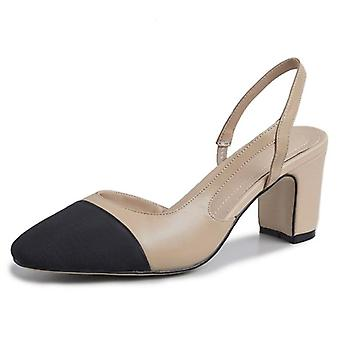 Women Slingback High Heels Natural Genuine Leather Thick Shoes