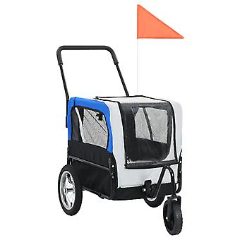2-in-1 animal bike trailer and jogger grey and blue