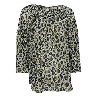 LOGO Par Lori Goldstein Women's Top Print Lace Smocking Detail Gray A367632