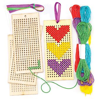 Baker ross wooden bookmark cross stitch kits for beginners (pack of 4) embroidery set with thread 4