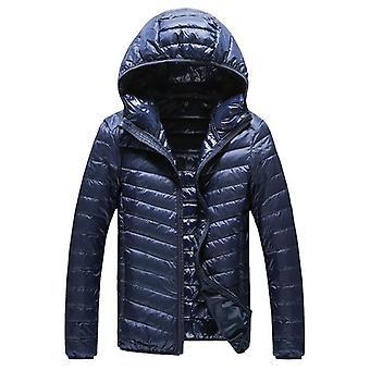 Lämmin muoti Höyhen Hupullinen Down Jacket Pure Color Boutique Miesten Sulka Alas
