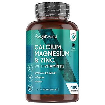 Calcium, Magnesium and Zinc with Vitamin D3 - 400 Tablets - Wellness Supplement