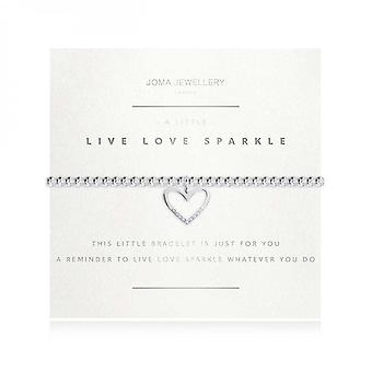 Joma Jewellery A Little Live Love Sparkle Silver Faceted 17.5cm Stretch Bracelet 3754