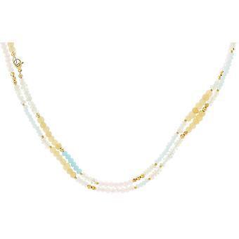 Gemshine Choker Halskette PASTELL Mondstein, Rosenquarz in 925 Silber vergoldet