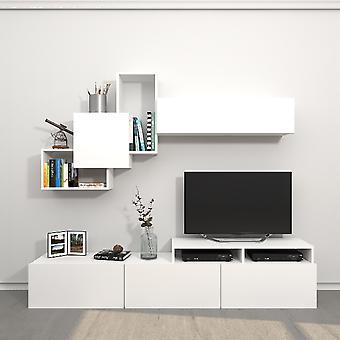 Origami Tv Port Witte Kleur in Melamine Spaanplaat, L200xP33xA42 cm, L186.2XP22xA91.5 cm