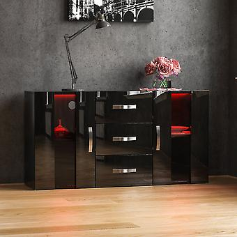 Astro 2 Door 3 Drawer LED Sideboard High Gloss Cabinet, Black