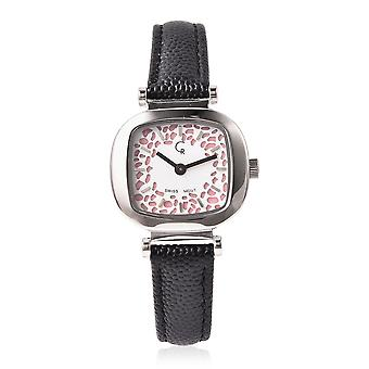 RACHEL GALLEY Lattice Collection Swiss Movement Watch with Black Leather Strap