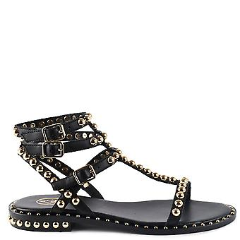 Ash PLAY Studded Sandals In Black Leather