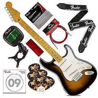Guitare électrique stratocaster stratocaster Squier by fender classic vibe des années 50, sunburst 2 couleurs avec accordeur, sangle, cordes, pics, câble & tissu de luxe bundle