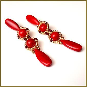 Red Howlite Long Dangle Statement