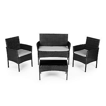 Mobili da giardino set grigio - tavolo + 2x poltrona e divano in rattan