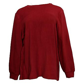 Cuddl Duds Women's Top Fleecewear Stretch Crew-Neck Pullover Rood A381759