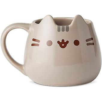 "DZK 6002676 Name is Mud ""Pusheen"" Sculpted Mug, Stoneware, Multicolor"