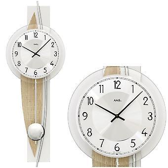 AMS 7455 Horloge murale Quartz avec pendule pendule en bois sonoma optique