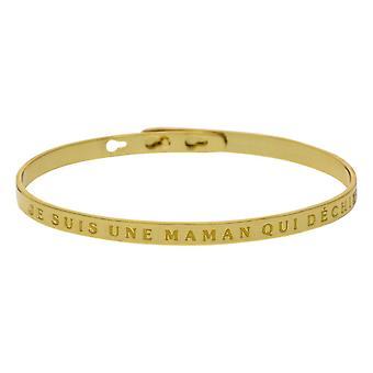 'JE SUIS UNE MAMAN QUI DÉCHIRE' bracelet jonc doré à message