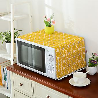 Swotgdoby Microwave Oven Cotton Linen Cover Dust Oil Proof With Storage Pockets