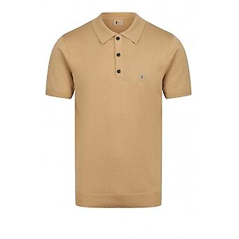 Gabicci Jackson Knitted Polo Shirt - Sand
