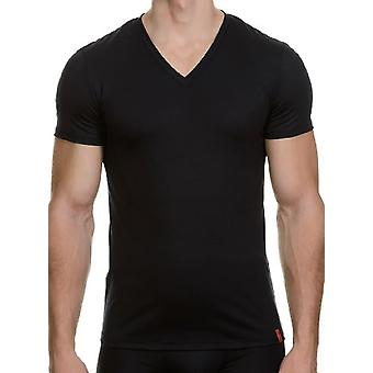 Bruno Banani - T-shirt met V-hals, Korte Mouw, Man, Zwart (Schwarz)), 2XL