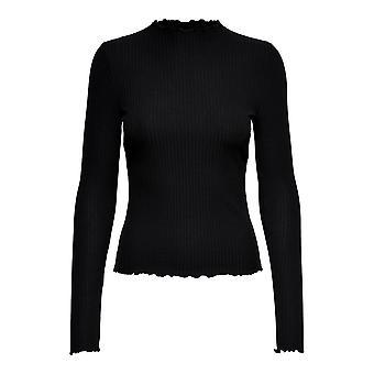 Vain Naisten Kaula T-paita Pitkähihainen Frilled Neckline Soft Fabric Casual Top
