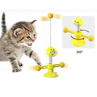 Keltainen monitoiminen sucker interaktiivinen kissa toyrotating emoji kevät hauska kissa lelu x3820