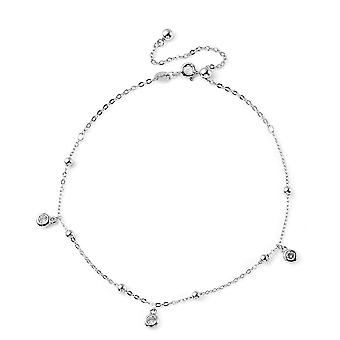 Elanza Link Chain Anklet for Women 9'' Cubic Zirconia Wife/Girlfriend in Silver