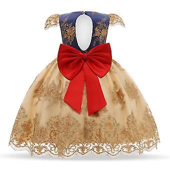 90Cm gule børns formelle tøj elegant fest pailletter tutu barnedåb kjole bryllup fødselsdag kjoler til piger fa1756