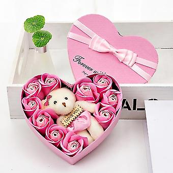 Soap Flower Rose Box Bears Bouquet Dried Flowers Decoration Valentine's Day Flowers Gift Festival