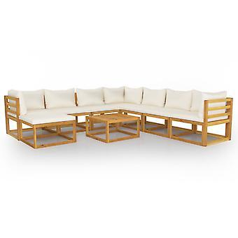 vidaXL 9-tlg. Kit de jardin-salon avec crème bois massif acacia
