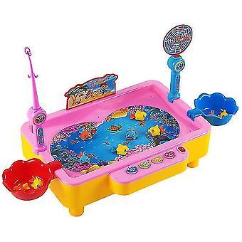 Lasten magneettinen kalastuspeli magneettisella kalastuspylväällä kelluva lelukala (vaaleanpunainen)
