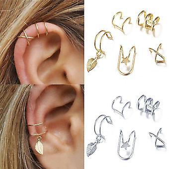 Boucles d'oreilles 10pcs Ensemble Sutra Feuilles Pentagram Star Ear Clips pour une utilisation quotidienne