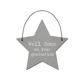 Well Done on Your Graduation - Mini Wooden Hanging Star - Cracker Filler Gift