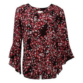 Belle af Kim Grus Kvinders Top Floral Flutter Sleeve Bluse Rød A310203