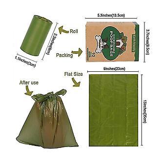 10pcs Sac à ordures biodégradable pour animaux de compagnie Protection de l'environnement Sac de caca de chien biodégradable (vert foncé)