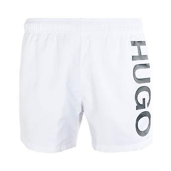 ヒューゴ アバス ラージ ロゴ ホワイト スイム ショーツ