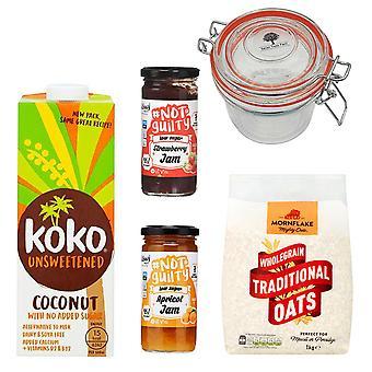 STF Glazen Pot 350ml, Mornflake Traditionele Haver 1KG, 2 x Koko Kokosmelk Zuivelvrij Ongezoet 1L, The Skinny Food Co. Abrikoos, Aardbeienjam 260g, GEEN BTW