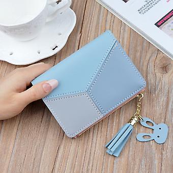 Neu Ankunft Brieftasche Kurze Frauen Brieftaschen Reißverschluss Geldbörse Patchwork Mode Getäfelte Brieftaschen Trendige Münze Geldbörse Kartenhalter Leder