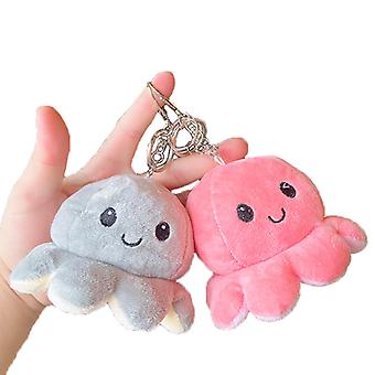 2 Pcs Reversible Octopus Plush Toys Key Chains Cute Personalized Keychains For Backpacks For Kids Women Girls Boys, Pink And Grey