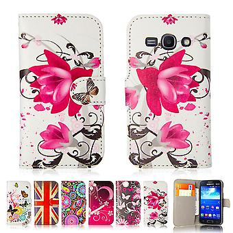 Design book PU leather case cover for Samsung Galaxy Ace 3 (s7270) - Purple Rose