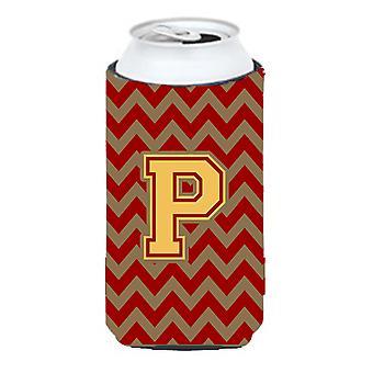 Letter P Chevron Garnet and Gold  Tall Boy Beverage Insulator Hugger