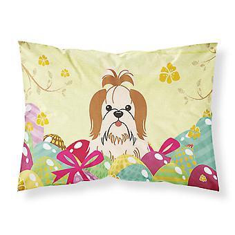 Easter Eggs Shih Tzu Red White Fabric Standard Pillowcase
