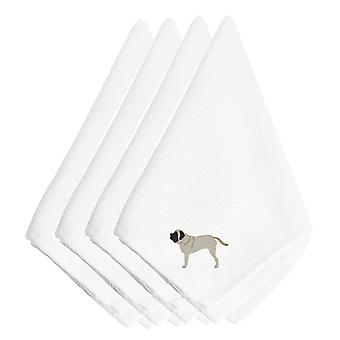Carolines Treasures  BB3456NPKE English Mastiff Embroidered Napkins Set of 4