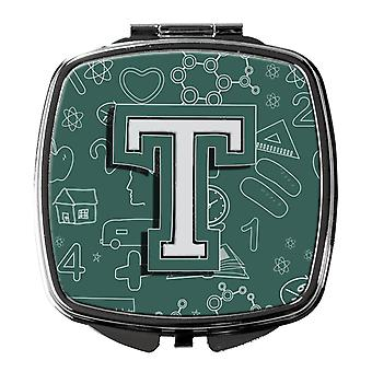 Carolines Treasures  CJ2010-TSCM Letter T Back to School Initial Compact Mirror