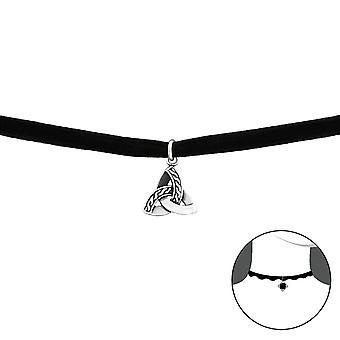 Celtic Knot - 925 Sterling Silver + Velvet Chokers - W33996X