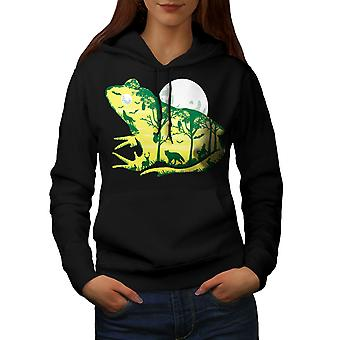 Frog Moon Nature Fantasy Women BlackHoodie | Wellcoda