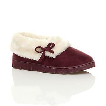 Ajvani Womens flach Winter faux Schaffell Fell waschbar Luxus Slip-on Ankle Booties Hausschuhe