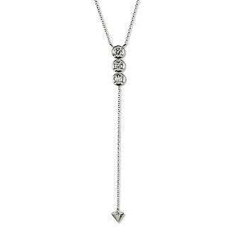 Pour toujours classique rond de 3,25 mm Pierre Moissanite trois Drop collier, 0.39cttw DEW