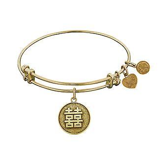 "Stipple Finish Brass Happiness Angelica Bangle Bracelet, 7.25"""