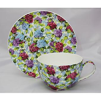 English Bone China Large Cup & Saucer Hydrangea