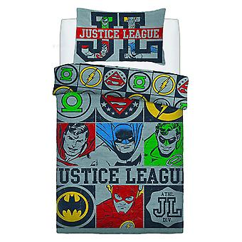 Justice League Vintage Icons Single Duvet Cover Set
